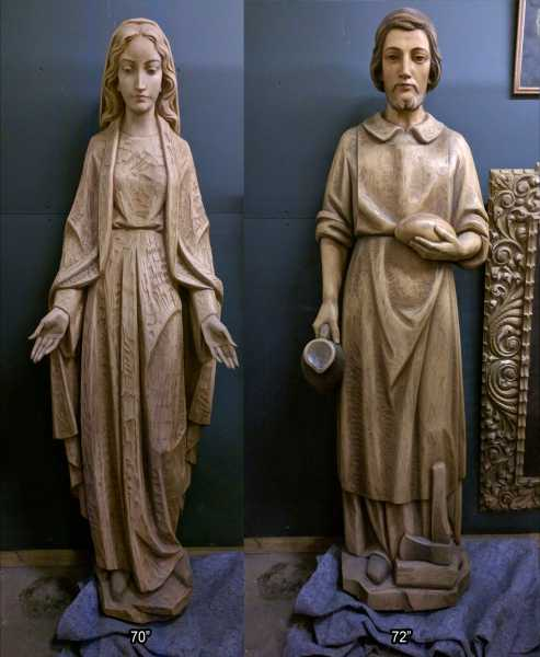 Carved-Wood-Joseph-Mary-Statues