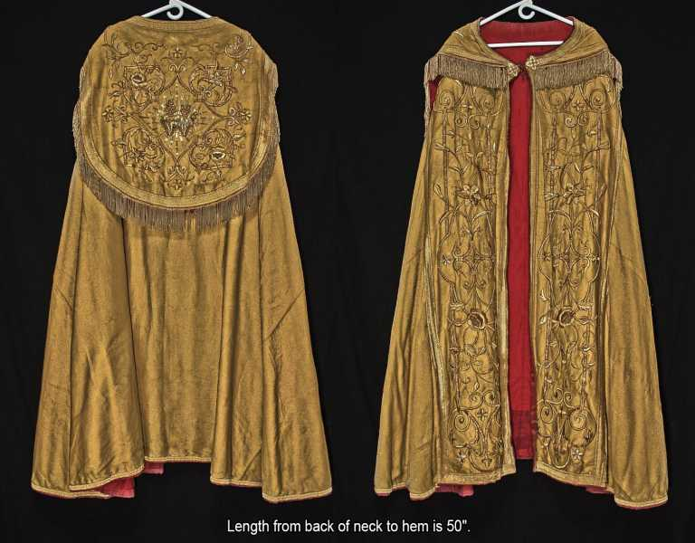 Antique-Gold-Thread-Cope-Vestment-Raised-Embroidery